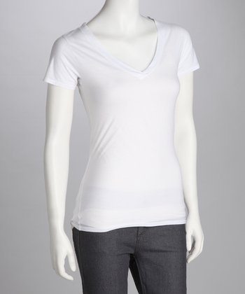 White V-Neck Tee - Women