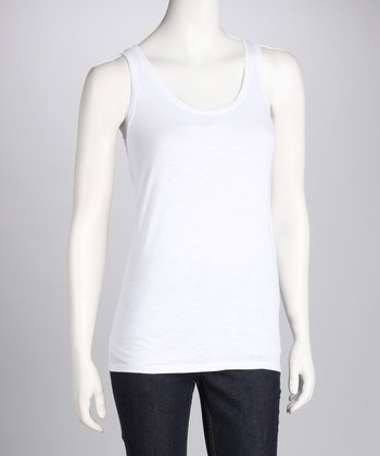 White Scoop Neck Tank - Women