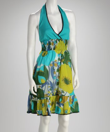 Teal Floral Embroidered Halter Dress - Women
