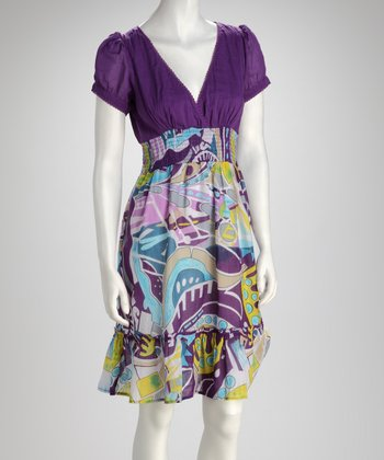 Purple Cap-Sleeve Dress - Women