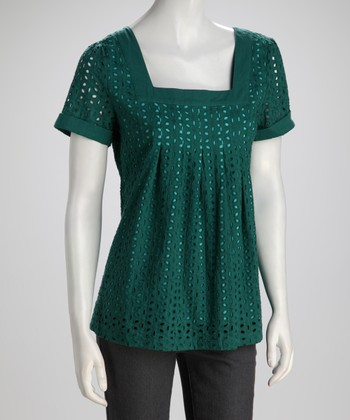 Green Crocheted Eyelet Top - Women