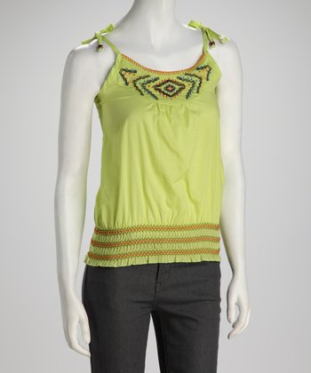 Lime Green Embroidered Tank