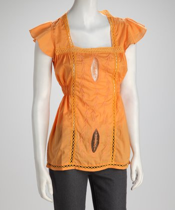 Orange Crocheted Cinched Top - Women