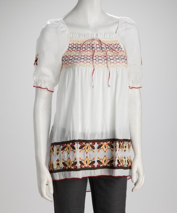 White Woven Embroidered Peasant Top - Women