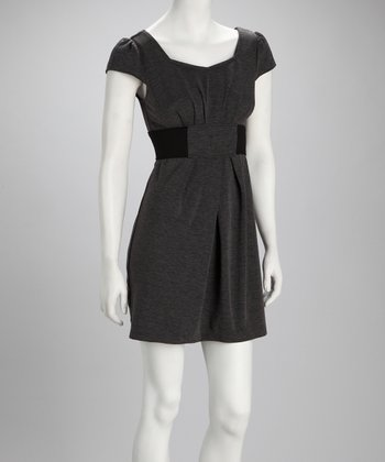 Black & Charcoal Cap-Sleeve Sweater Dress - Women