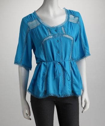 Blue Button-Up Tie Top - Women