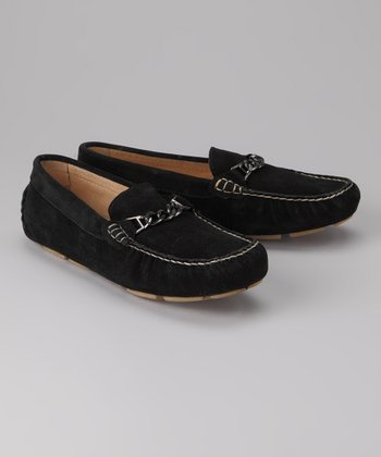 Amiana Black Suede Chain Loafer