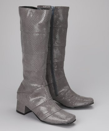 Amiana Gray Snakeskin Boot