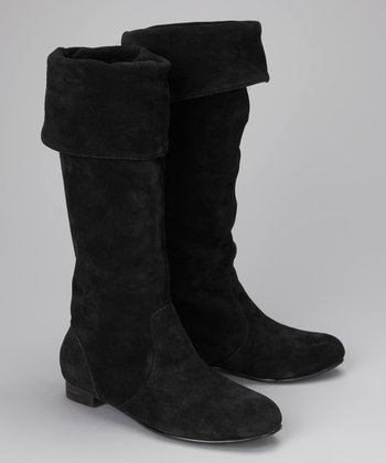 Amiana Black Fold-Over Boot