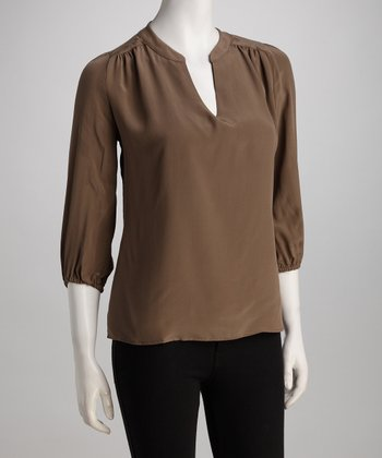 Taupe Alicia Silk Top