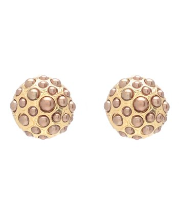 Brown Pearl & Gold Pebble Stud Earring