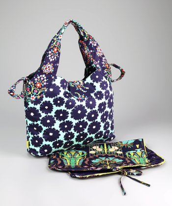 Navy Poppies Tulip Organic Diaper Bag