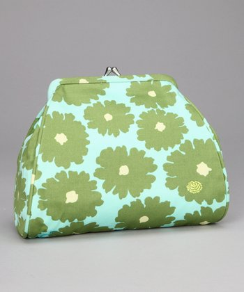 Green Poppy Flower Nora Organic Clutch
