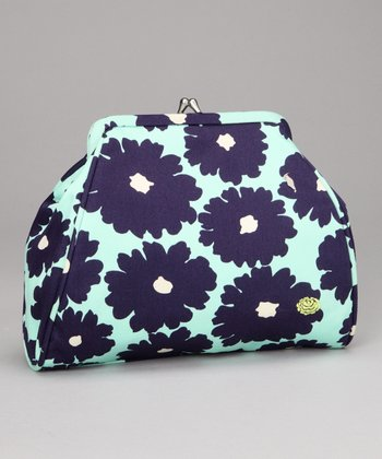 Navy Poppy Flower Nora Organic Clutch