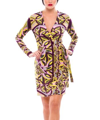 Yellow & Burgundy Geometric Wrap Dress