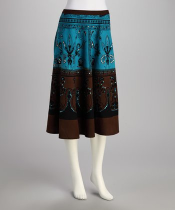 Blue & Brown Filigree Sequin Skirt