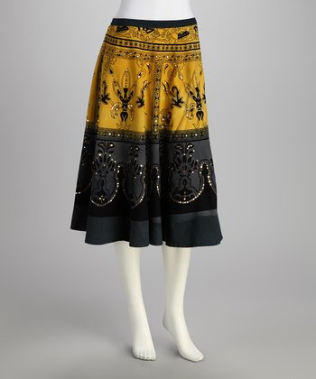 Yellow & Gray Filigree Sequin Skirt