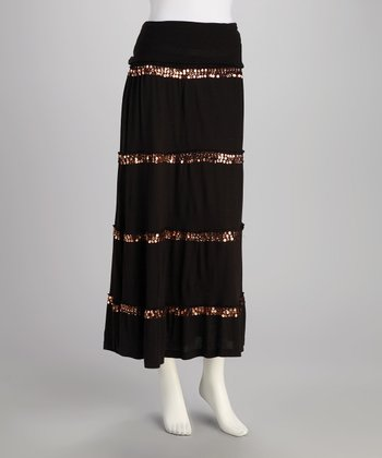 Black Sequin Peasant Skirt