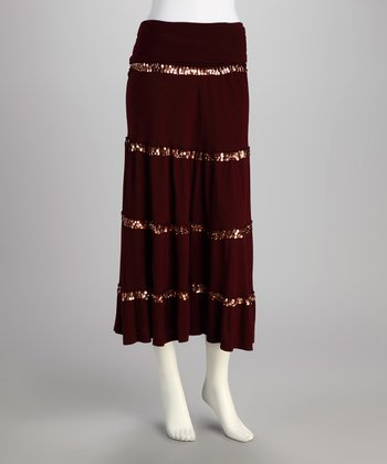 Burgundy Sequin Peasant Skirt