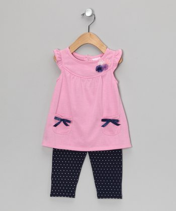 Pink Bow Tunic & Purple Leggings - Infant