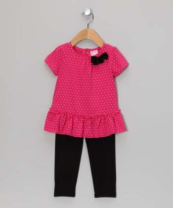 Fuchsia Bow Tunic & Black Leggings - Infant & Toddler