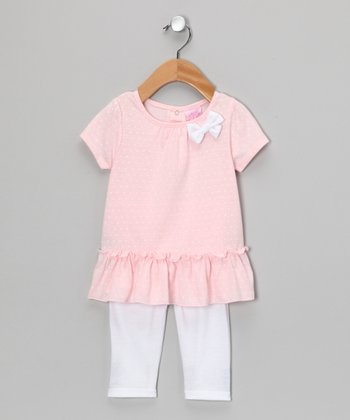 Light Pink Bow Tunic & White Leggings - Infant & Toddler