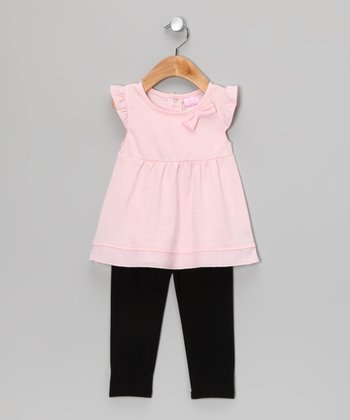 Light Pink Angel-Sleeve Tunic & Black Leggings - Infant & Toddler