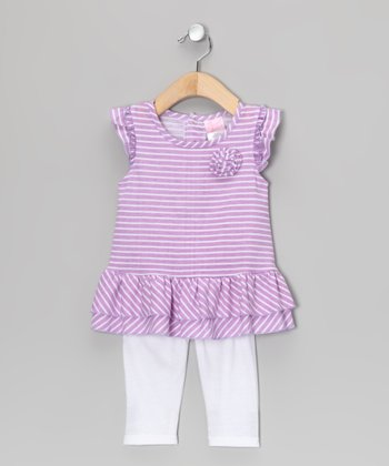 Purple Stripe Rosette Tunic & White Leggings - Infant