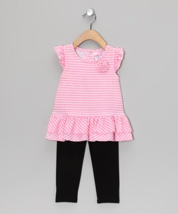Pink Stripe Rosette Tunic & Black Leggings - Infant
