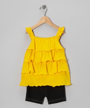 Yellow Tiered Ruffle Tunic & Shorts - Infant & Toddler