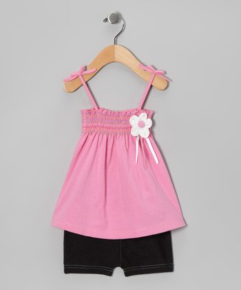 Pink Smocked Flower Tunic & Shorts - Infant & Toddler