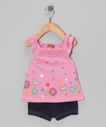 Pink Butterfly Flower Tunic & Shorts - Infant