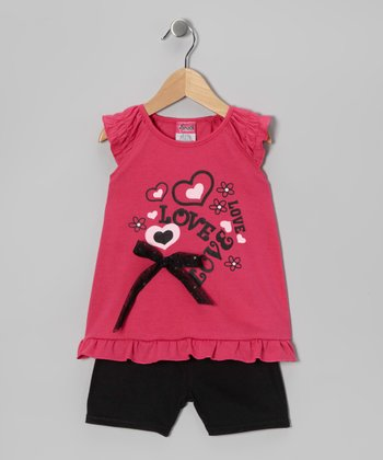Pink 'Love' Tunic & Shorts - Infant