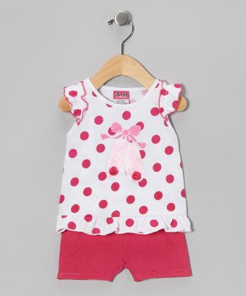 Pink & White Ballet Slipper Tunic & Shorts - Infant