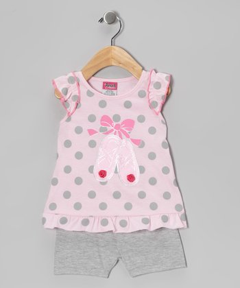 Pink & Gray Ballet Slipper Tunic & Shorts - Infant