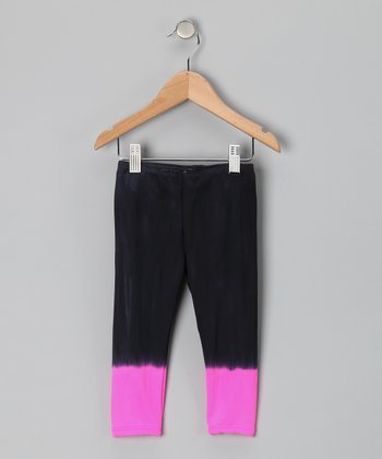Hot Pink & Black Dip Gypsy Love Leggings - Toddler & Girls
