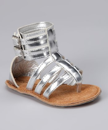 Silver Double-Buckle Gladiator Sandal