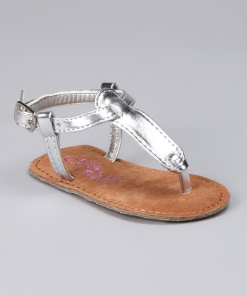 Angels Couture Silver Patent T-Strap Sandal