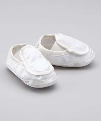 White Satin Border Slip-On Bootie