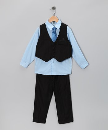 Black & Baby Blue Vest Set - Toddler