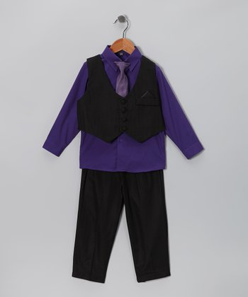 Black & Eggplant Vest Set - Infant