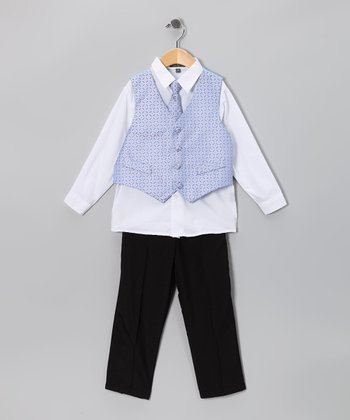 Black & Light Blue Vest Set - Toddler & Boys