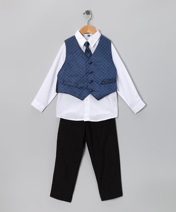 Black & Navy Vest Set - Infant, Toddler & Boys