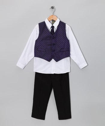 Black & Purple Vest Set - Toddler & Boys