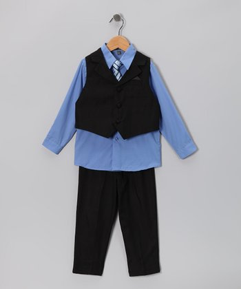 Black & Blue Vest Set - Toddler & Boys