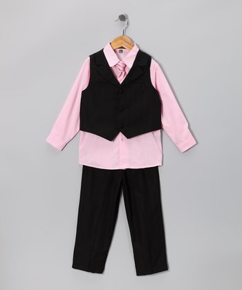 Pink & Black Vest Set - Toddler & Boys