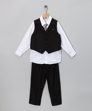 Black & White Vest Set - Infant, Toddler & Boys