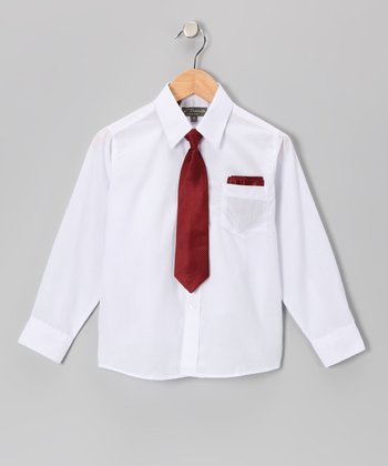 White & Red Shirt Set - Infant, Toddler & Boys