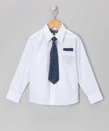 White & Navy Shirt Set - Infant, Toddler & Boys