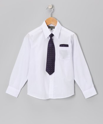 White & Purple Shirt Set - Infant, Toddler & Boys